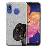 FINCIBO Case Compatible with Samsung Galaxy A10e A102U 5.83 inch 2019, Shiny Silver Bling Glitter TPU Protector Cover Case for Galaxy A10e A20e (NOT FIT A10) - Dachshund Puppy Dog Hide and Seek