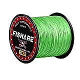 FISHARE 4 Strands Neon Green Braided Fishing Line - 500YD,30LB