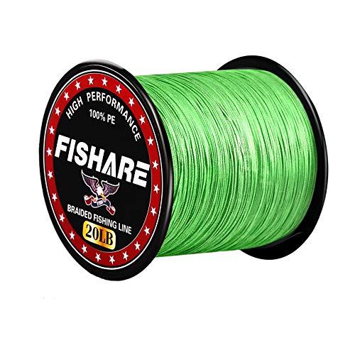 FISHARE 4 Strands Neon Green Braided Fishing Line - 300YD,20LB