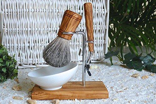 D.O.M. Classic Plus Shaving Brush Set 4 Pieces Olive Wood with Porcelain Bowl Oval 10 cm M3