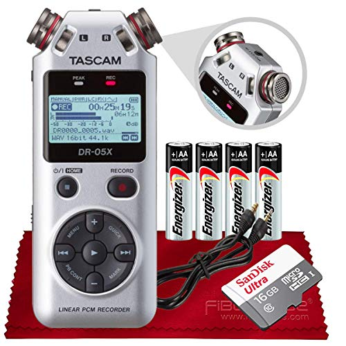 Tascam DR-05X 2-Input / 2-Track Portable Stereo Handheld Digital Audio Recorder w/USB Audio Interface Silver + 16GB Micro SDHC, Auxiliary Cable, Batteries & Fibertique Microfiber Cleaning Cloth