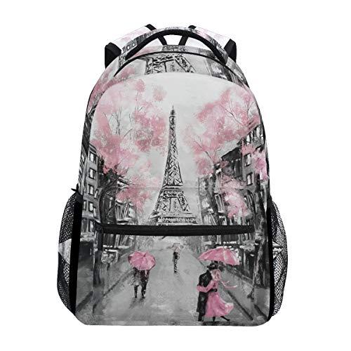 WowPrint Romantischer Paris Eiffelturm Rucksack Buch Tasche Schulter Schulrucksäcke Rucksack Wandern Reisen Tagesrucksack Casual Taschen