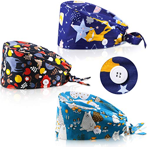 SATINIOR 3 Pieces Cute Printed Working Cap Cotton Working Cap with Button and Sweatband Adjustable Tie Back Hat for Women Men (Raccoon, Polar Bear, Fox)
