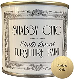 Shabby Chic Chalk Based Furniture Paint - Antique Gold 250ml - Chalked, Use on Wood, Stone, Brick, Metal, Plaster or Plastic, No Primer Needed, Made in the UK