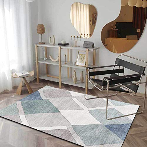 Gran Tamaño Dormitorio Moqueta Mosaico geométrico Abstracto Pintado a Mano Azul Antideslizante fácil de Limpiar Tapete para Dormitorio,Comedor,Habita 160x200M (5ft3 x 6ft6)