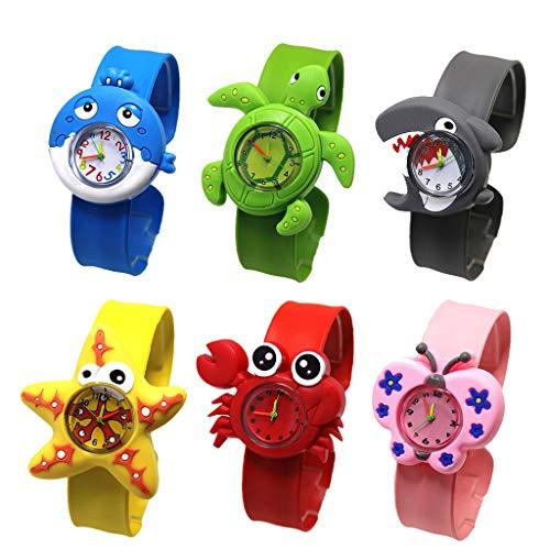 Weimingshop Dibujos Animados niños mira Tortuga niño Reloj fácil Lector analógico Relojes Chicas Relojes para Regalo Estudiantes Relojes para niños niño cumpleaños Actuales Relojes (Color : 6pcs)