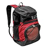 Xelfly Basketball Backpack with Ball Compartment – Sports Equipment Bag for Soccer Ball, Volleyball, Gym, Outdoor, Travel, School, Team - 2 Bottle Pockets, Includes Laundry or Shoe Bag - 25L (Red)