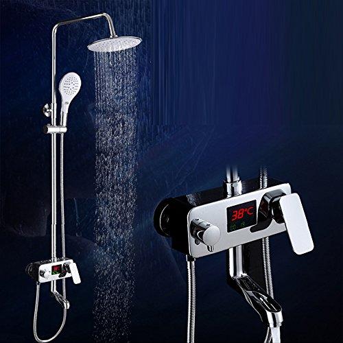 galvanoplástica Retro pantalla LED grifo de indicador digital Termostato ducha grifo latón zooms Digital Ducha No batería Whirlpool Licuadora grifo