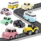 HERSITY Mini Auto Giocattolo Metallo Macchinine Tirare Indietro Camion Giocattoli Decorazioni Torta Regalo 8 Pezzi per 3 4 5 6 Anni Bambini Ragazzo Ragazza