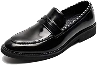 Oxford Black lace Oxford shoes Men's Sewn Loafers in Microfiber Leather Wear resistant Rubber sole Low-heeled leather shoes Derby Saddle Shoes (Color : Black, Size : 39)