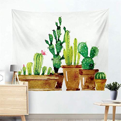 Romance-and-Beauty Tapiz de Cactus Tapiz de Pared Plantas suculentas Blancas y Verdes Manteles Tapiz de Pared de Flores Decoraciones para el hogar para el Dormitorio 60 X 51 Inch