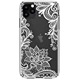 HUIYCUU Compatible with iPhone 11 Pro MAX Case 6.5', Shockproof Cute Slim Fit Anti-Slip Clear Design Flower Pattern Soft Bumper + Hard Back Cover Girl Women Case for iPhone 11Pro XI Max, White Lace