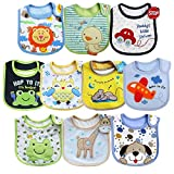 Tomkity Lot de 10 Bb Bavoirs Impermables 0  36 mois