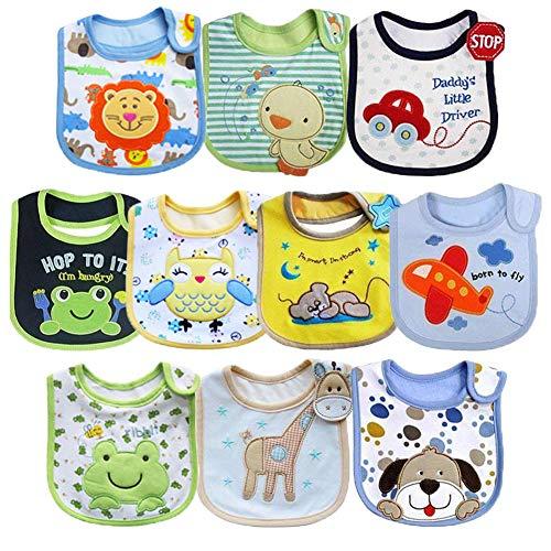 Tomkity Lot de 10 Bébé Bavoirs Imperméables 0 à 36 mois