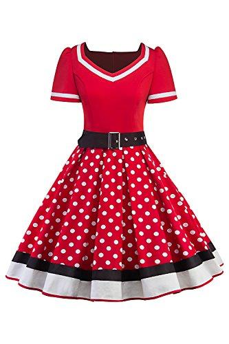 MisShow Damen elegant 50er Jahre Petticoat Kleider Gepunkte Rockabilly Kleider Cocktailkleider, Rot, M