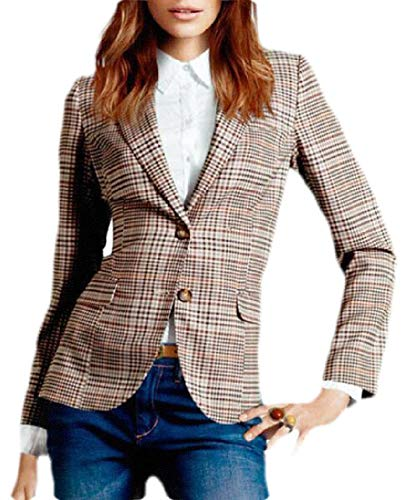 SOWTKSL Damen Blazer mit Zwei Knöpfen, Vintage-Stil, Ellenbogen-Patch Gr. US L, Siehe Abbildung