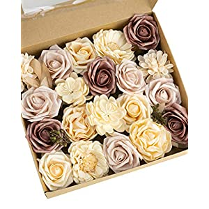 Dusty Rose Flowers – Artificial Flowers Combination for Vintage Wedding Decor Bouquets Centerpieces Home Decoration – Foam Flowers Roses Peonies with Stem for DIY Crafts – Handmade Floral Arrangement
