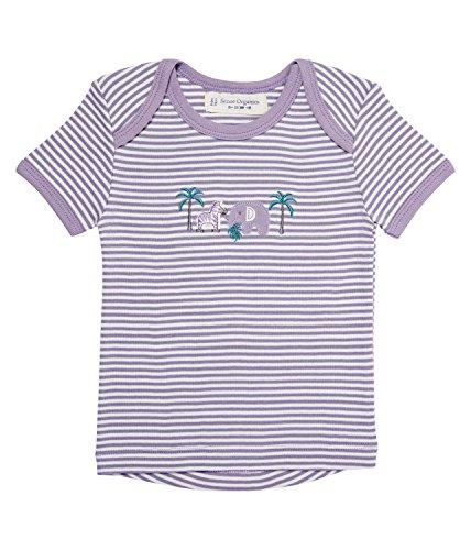 SENSE ORGANICS Tilly Baby T-Shirt mit Schlupfkragen, Violett (Dusty Mauv-Ecowhite Stripes 196006), 74 cm (Taille du Fabricant: 6M) Bébé Fille