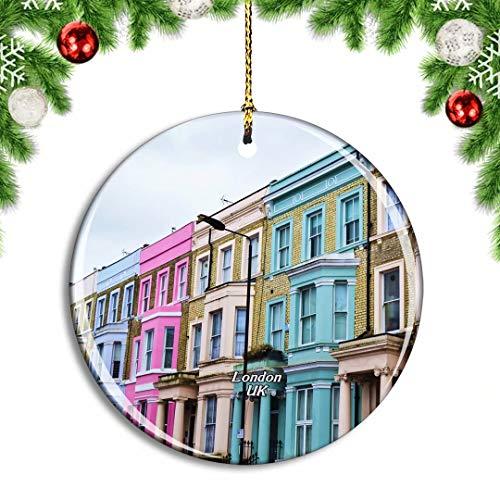 Weekino Regno Unito Inghilterra Londra Notting Hill Decorazione Natalizia Albero di Natale Ornamento Pendente sospeso Città Viaggi Souvenir Collection Porcellana da 2,85 Pollici