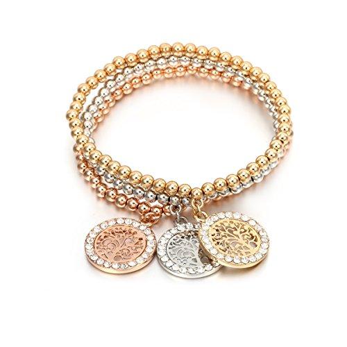 Pulsera de abalorios para mujer, pulsera de perlas de elasticidad pulsera de perlas pulsera de perlas pulsera de perlas pulsera de perlas pulsera de perlas Mezcla de color