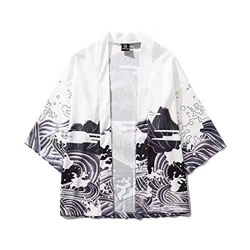 Dragón Modelo japonés Onda impresión Digital Kimono de Perder la Camisa de Manga Tres Cuartos Delgada SYXMSM (Color : White, Size : XL)
