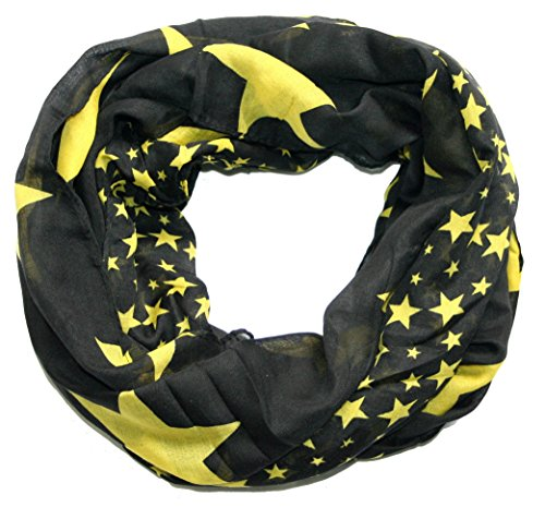 ACC leichter Sterne Loop Schal XXL, Schwarz Gelb, 170 x 80 cm
