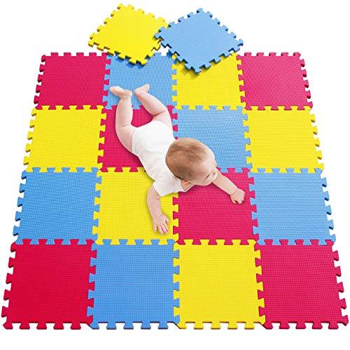meiqicool 30x30x1 cm Kindermatte Bunt Teppichmatte mit kindlichen Mustern Puzzlematte Kinderteppich Matte Kinderspielteppich Unterlegmatte Spielmatte Fitnessmatten(Karte, 18 Stück) 050709