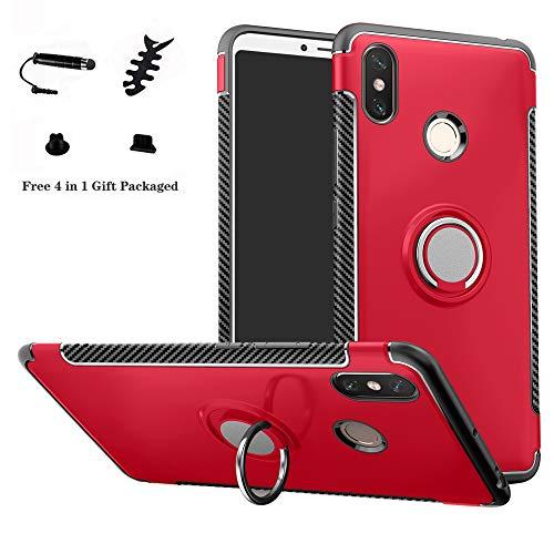 LFDZ Xiaomi Mi Max 3 Hülle, 360 Rotation Verstellbarer Ring Grip Stand,Ultra Slim Fit TPU Schutzhülle für Xiaomi Mi Max 3 (mit 4in1 Geschenk Verpackt),Rot