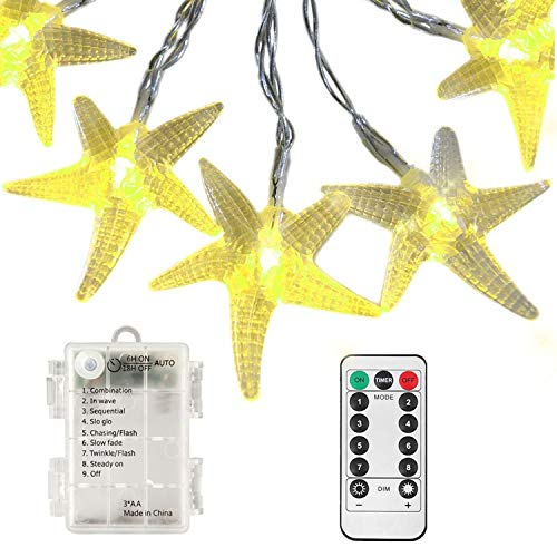 echosari [Remote & Timer] 11 Feet 30 LED Starfish Shaped Battery Operated LED Fairy String Lights Indoor & Outdoor Used for Garden, Christmas, Party, Wedding, New Year Decorations (Warm White)