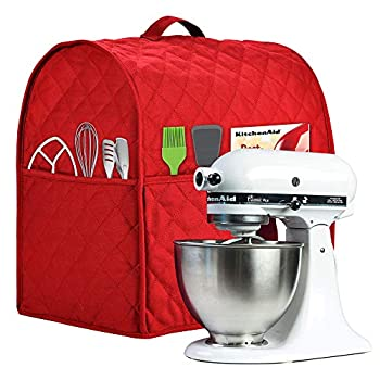 Stand Mixer Cover compatible with Kitchenaid Mixer Fits All Tilt Head & Bowl Lift Models,The Fabric Is Pure Cottot,100% Cotton is Padded,Fine Soft Not Easy to Fade Not Easy To Pilling  Fits for 6-8 Quart Red