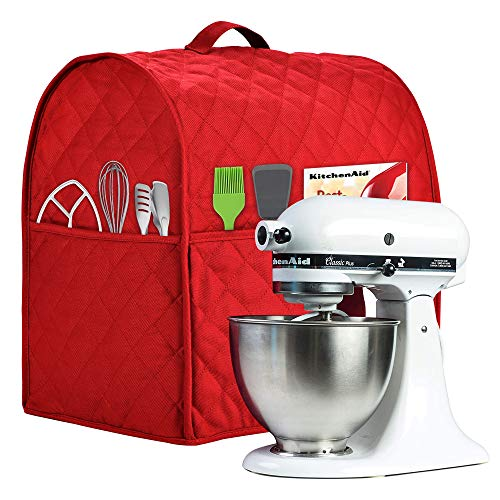 Stand Mixer Cover compatible with Kitchenaid Mixer, Fits All Tilt Head & Bowl Lift Models,The Fabric Is Pure Cottot,100% Cotton is Padded,Fine, Soft, Not Easy to Fade, Not Easy To Pilling. (Fits for 6-8 Quart, Red)