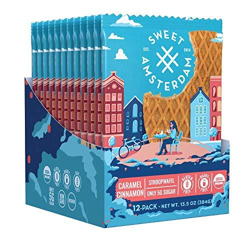 Sweet Amsterdam Stroopwafel Cookies | Gluten Free, Dairy Free, Low Sugar Organic Waffle Snacks | Healthy Biscuits & Wafer Snacks | Caramel Cinnamon | 12-PACK