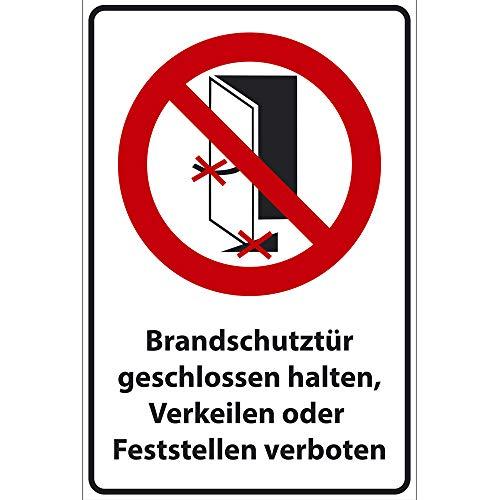 Bord brandwerende deur gesloten houden, kijlen of vastzetten verboden uit PVC hardschuim plaat 200x300 mm - 3 mm dik