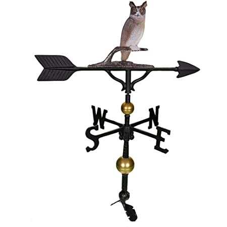 Montague Metal Products 32-Inch Deluxe Weathervane with Color Owl Ornament