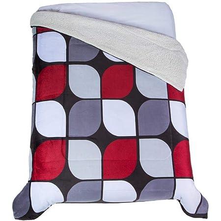 Colchas Concord Córdoba Cobertor de Borrega, Negro (Rojo y Grises), Matrimonial 1.80 X 2.20 Mts.