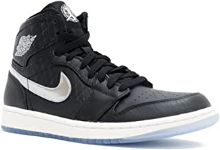 Mens Air Jordan 1 Retro Hi Allstar Black/Metallic Silver-Sail Leather