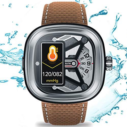 HQPCAHL Smartwatch Mechanische Uhren Fitness Tracker Mit Herzfrequenzmesser, Aktivitäts-Tracker, Schrittzähler, Schlafmonitor, Kalorienzähler, Schrittzähleruhr,Braun