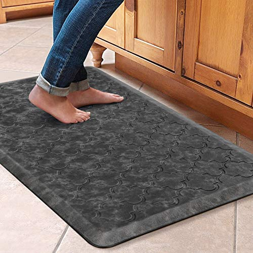 WiseLife Kitchen Mat Cushioned Anti Fatigue Floor Mat,17.3'x28',Thick Non Slip Waterproof Kitchen Rugs and Mats,Heavy Duty PVC Foam Standing Mat for Kitchen,Floor,Home,Office,Desk,Sink,Laundry,Grey