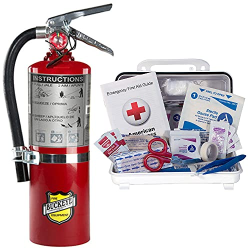 5Lb Fire Extinguisher 2A10BC Class ABC Dry Chemical Buckeye With Vehicle Bracket and Cover