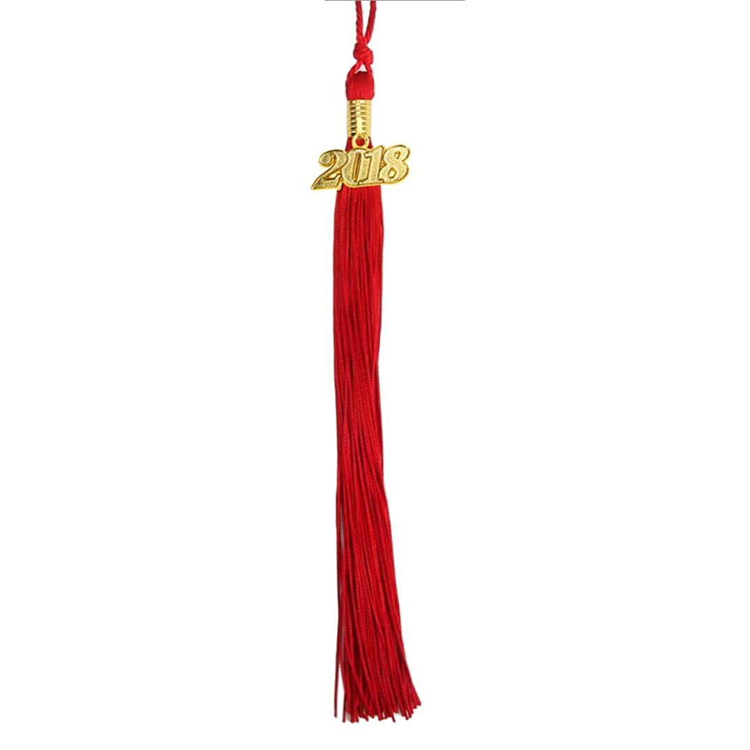 Graduation Tassel with Gold 2017 Year Charm 9-inch by YesGraduation (Red)