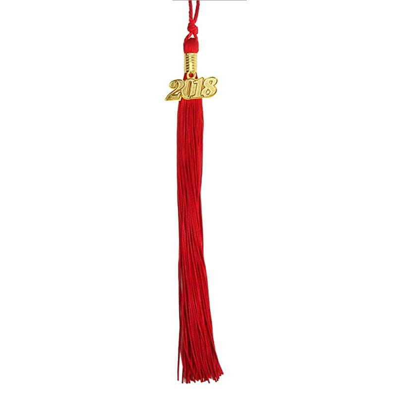 Graduation Tassel with Gold 2017 Year Charm 9-inch by YesGraduation (Red) tydnqkop896011