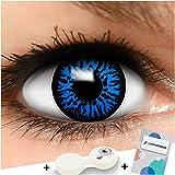 Farbige Kontaktlinsen Blue Dämon in blau + Behälter - Top Linsenfinder Markenqualität, 1Paar (2 Stück)