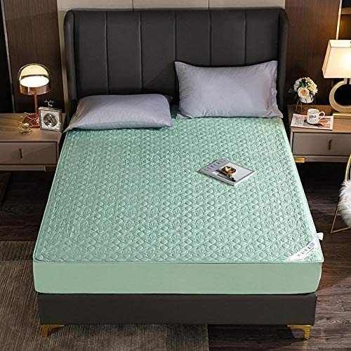 GTWOZNB Pure Cotton Fitted Sheet Double Breathable Bed Sheet Non-slip velvet cotton bed sheet-green_200*200cm