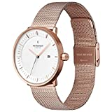 Nordgreen Philosopher Scandinavian Rose Gold Unisex Analog 36mm Watch with Rose Gold Mesh Strap 10014