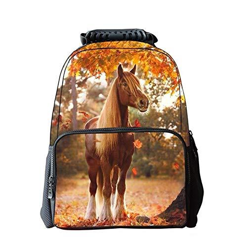 Jejhmy creatieve persoonlijkheid 3D dier paard esdoorn blad 40x28x16cm reizen mode casual outdoor creatieve rugzak afdrukken