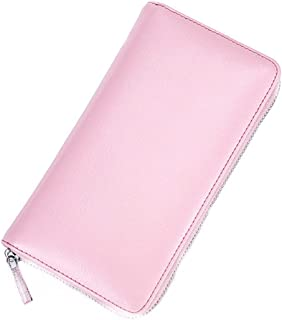 Genuine Leather Ladies Business Card Case Large Capacity Women's Men's Organ Long Wallet RFID Blocking with Zipper Coin Pu...
