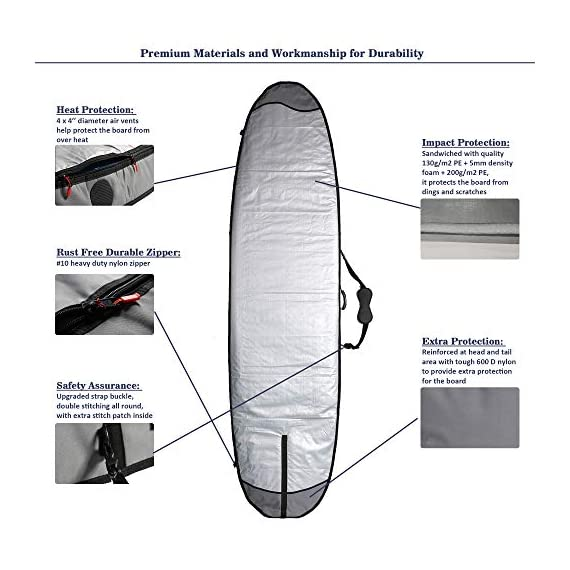 "Abahub Premium SUP Travel Bag, Foam Padded Stand-up Paddleboard Cover Case, Paddle Board Carrying Bags for Outdoor 8'0… 3 Premium Materials: premium quality 190g/m2 water-resistant PE shell with 600D reinforcement, 1/3"" (8mm) foam core, 130g/m2 PE lining and big tooth YKK #10 nickel plated zippers are used to make for this top quality SUP travel bag. Wide Sizes Coverage: this board bag is specially designed to cover a wide range of board sizes up to 9'8 x 33''x 6''. Please check the detailed specs on the 2nd picture of the listing. Extra Protection: 4 x 4"" air vents for heat protection; 600D nylon for nose and tail protection."
