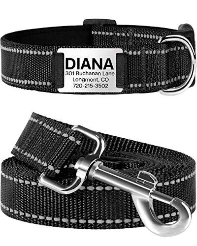 TagME Reflektierend Hundehalsband mit Leine Set mit Namen und Telefonnummer,Gepolstert Halsband Hund für Kleine Hunde,Schwarz