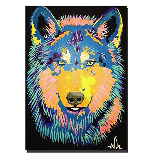 Kleur poster hond kunst hond canvas schilderij muur kunst canvas minimalistische poster huisdecoratie frameloze 20x28 (inch)