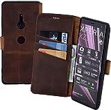 Suncase Book-Style kompatibel für Sony Xperia XZ3 Hülle (Slim-Fit) Leder Tasche Handytasche Schutzhülle Hülle (mit Standfunktion & Kartenfach - Bruchfester Innenschale) in antik Coffee